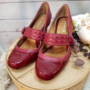 Michelle D Red Leather Patent Heels Size 8
